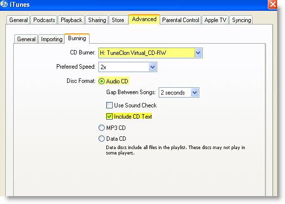 TuneClone Audio Konverter Einrichtungen