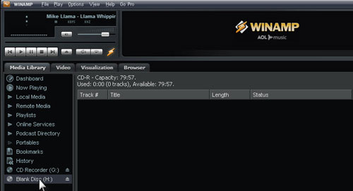 Brennenoption in WinAMP aufstellen